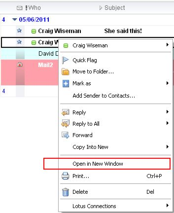 Image:Lotus Notes 8.5: How to open two emails at the same time