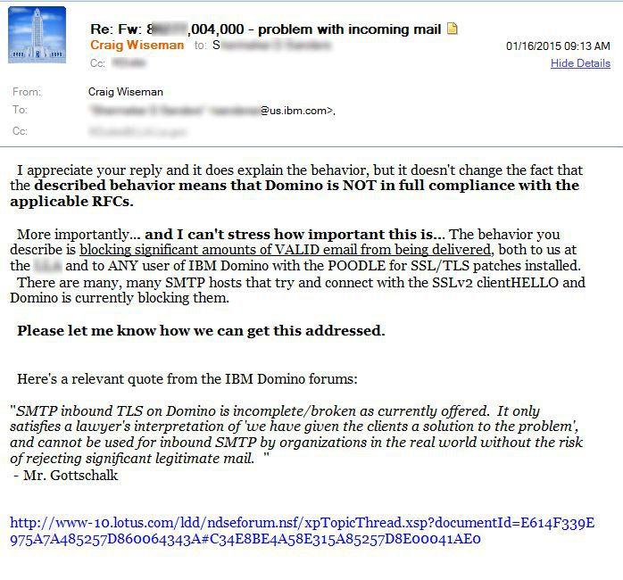 Domino customer? Please call IBM support help get SMTP TLS/SSL